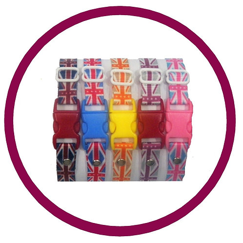 Puppy id whelping collars in coloured union jack flag print by posh pets boutique