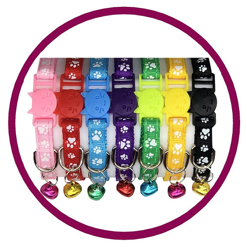Range of Safety Breakaway Cat Collars with Paw Print Pattern and coloured bellfrom Posh Pets Boutique