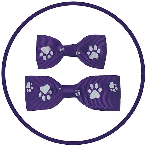 Dog Purple Paw Print Hair Barrette Bow from Posh Pets Boutique