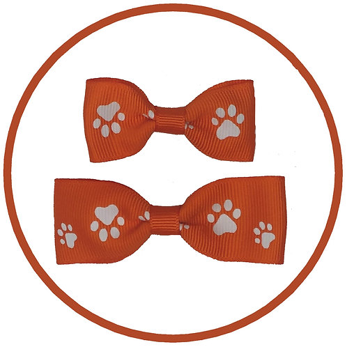 Dog Orange Paw Print Hair Bow from Posh Pets Boutique