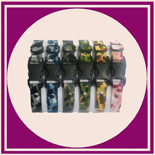 6 puppy ID whelping collars in a coloured camouflage print
