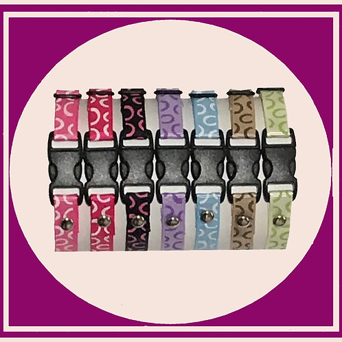 Puppy Whelping ID Collars in coloured ribbon with a circles print pattern