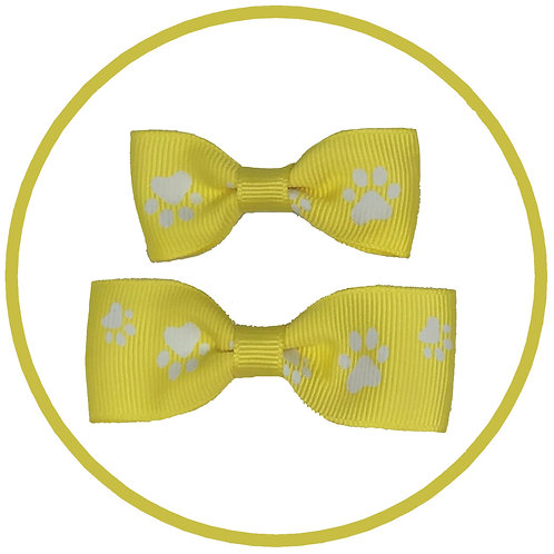 Dog Yellow Paw Print Hair Bow from Posh Pets Boutique