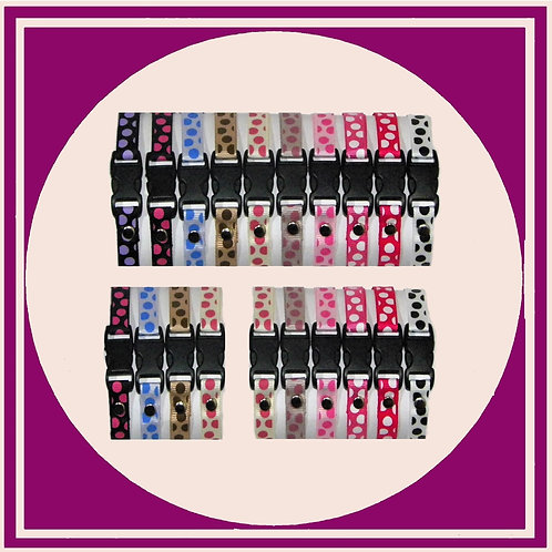 Sets of coloured puppy ID Whelping collars with a Large Dot print from Posh Pets Boutique