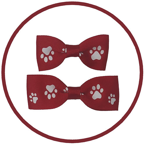 Dog Red Paw Print Hair Bow from Posh Pets Boutique
