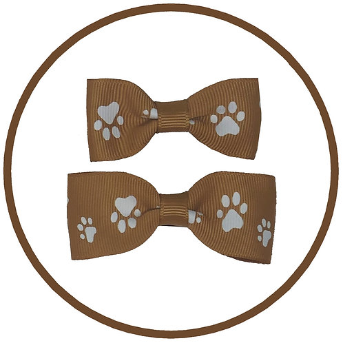 Pale Gold Dog Paw Print Hair Bow from Posh Pets Boutique