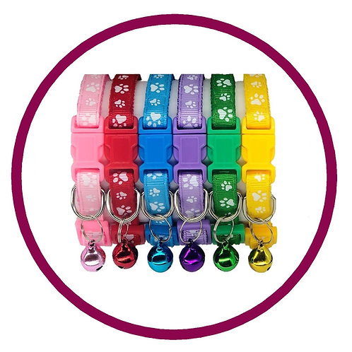 six coloured paw print cat collars with matching bell sold by posh pets boutique
