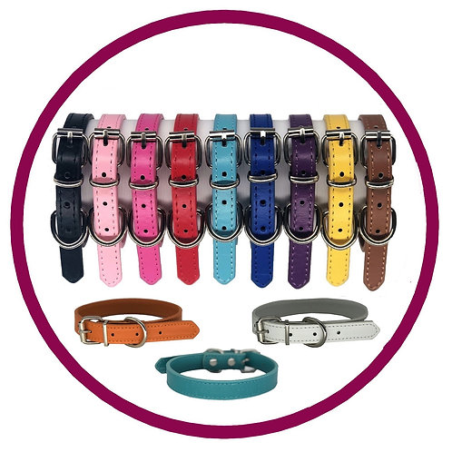 Range of coloured leather puppy collars from Posh Pets Boutique