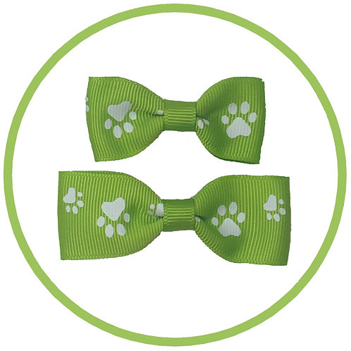 Dog Apple Green Paw Print Hair Bow from Posh Pets Boutique
