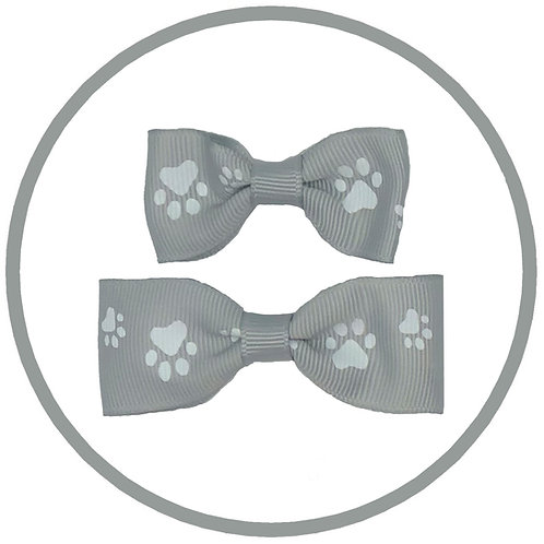 Dog Silver Hair Bow with White Paw Prints from Posh Pets Boutique