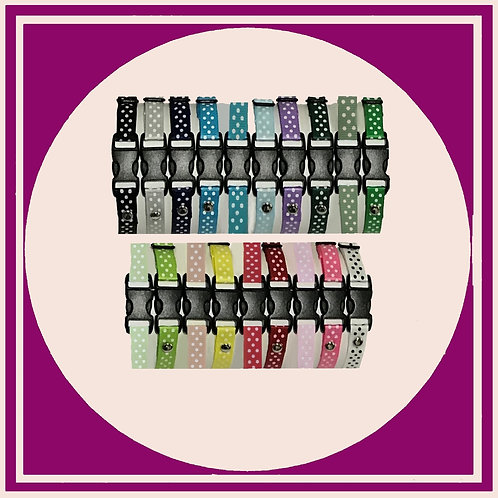 Puppy Whelping ID Collars made from coloured grosgrain ribbon with a polka dot print