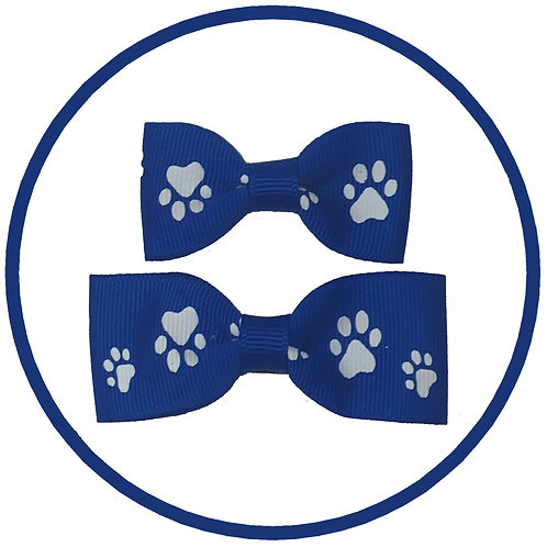 Dog Electric Blue Paw Print Hair Bow from Posh Pets Boutique