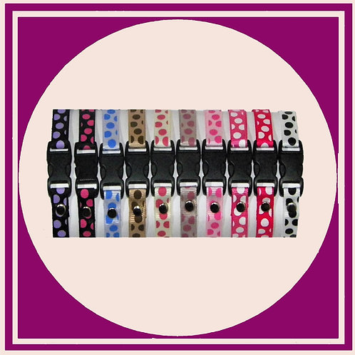 10 coloured Puppy ID Whelping collars with a Large Dot print