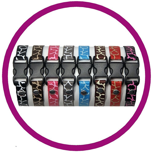 Whelping Id Collars in colourful giraffe print pattern from posh pets boutique