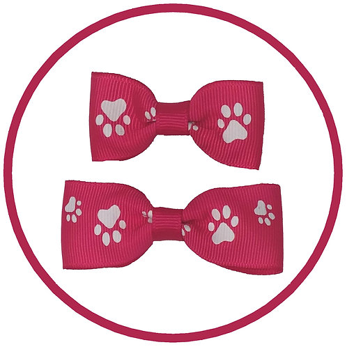 Hot Pink Dog Paw Print Hair Bow with Spring Clip from Posh Pets Boutique