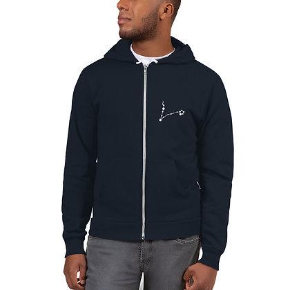 Vissen-Pisces Zodiac hoodie, met uniek persoonlijk sterrenbeeld op voorkant/arm