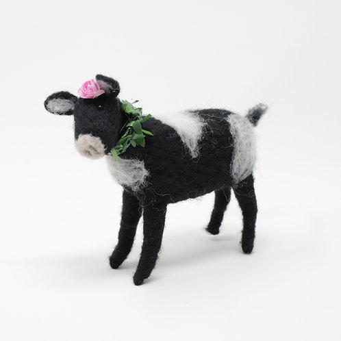 Kuh aus Filz Dunkel