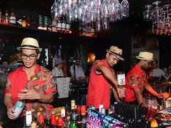 Friendly bar staff at work