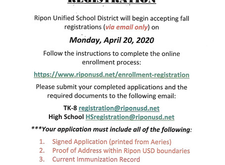 RUSD Registration Information for Fall 2020 Spanish and English Fliers