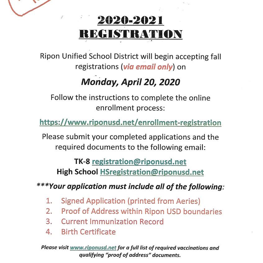 Registration Fall 2020 English