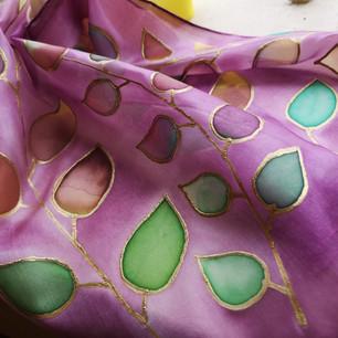 Colourful leaf silk scarf