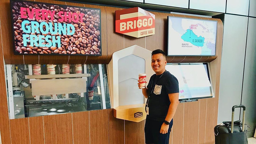 Briggo coffee machine at Austin Bergstrom airport