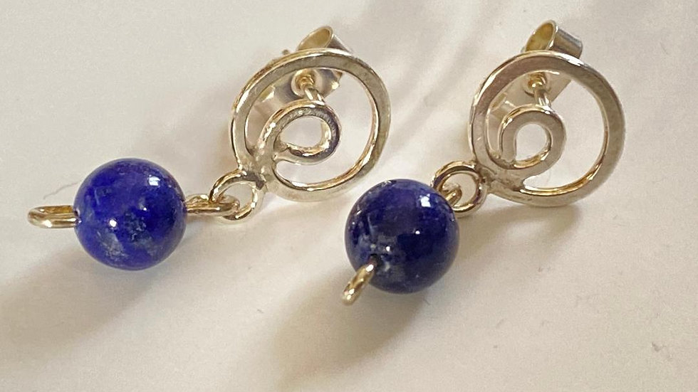 Connected Spiral Lapis Lazuli Studs