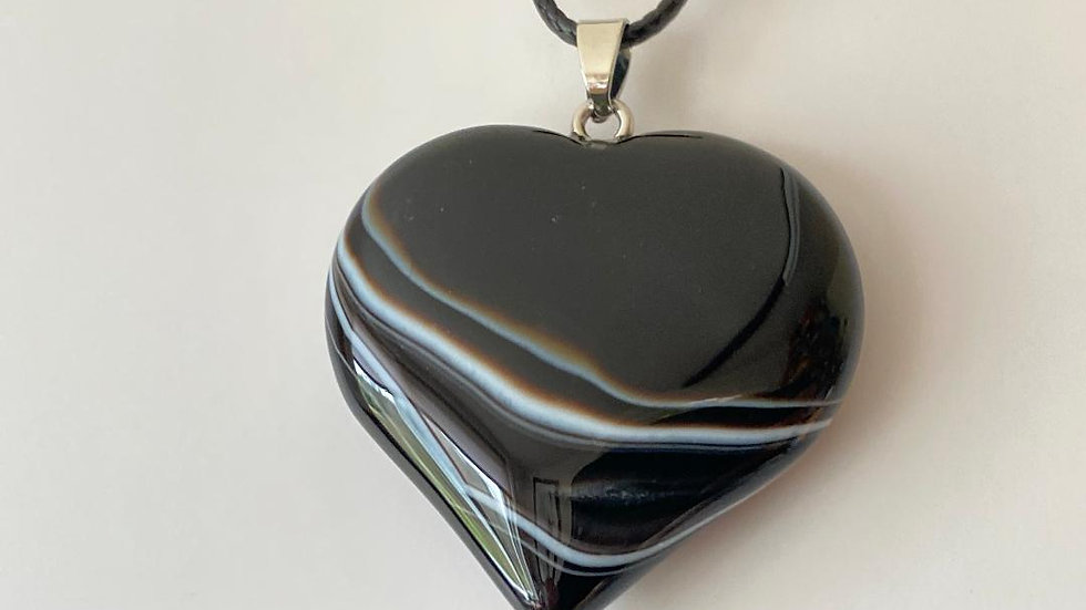 Large Panda Agate Heart Pendant