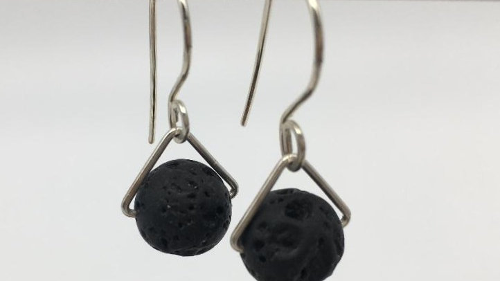 Diffuser Lava Bead Silver Earrings