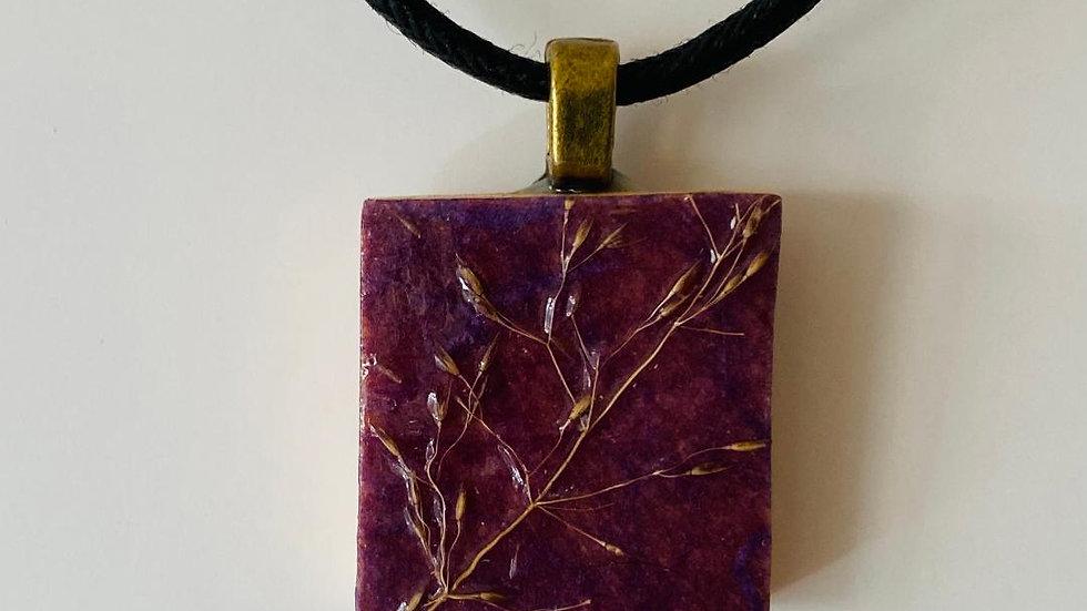 Grass Pendant on a Scrabble Tile