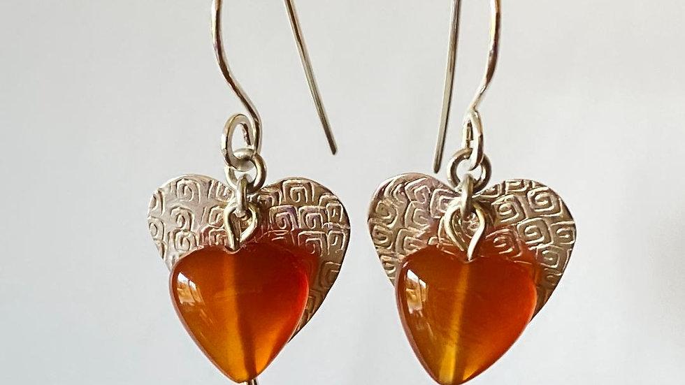 Silver and Carnelian Heart Earrings
