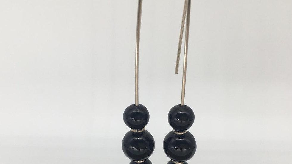 Black AgateBead Silver Drop Earring