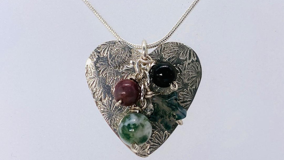 Star and Heart Pendant with Agate