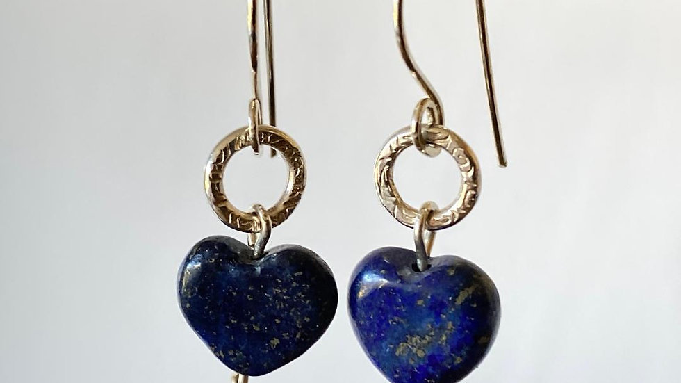Lapis Lazuli Hearts and Silver Circle Earrings
