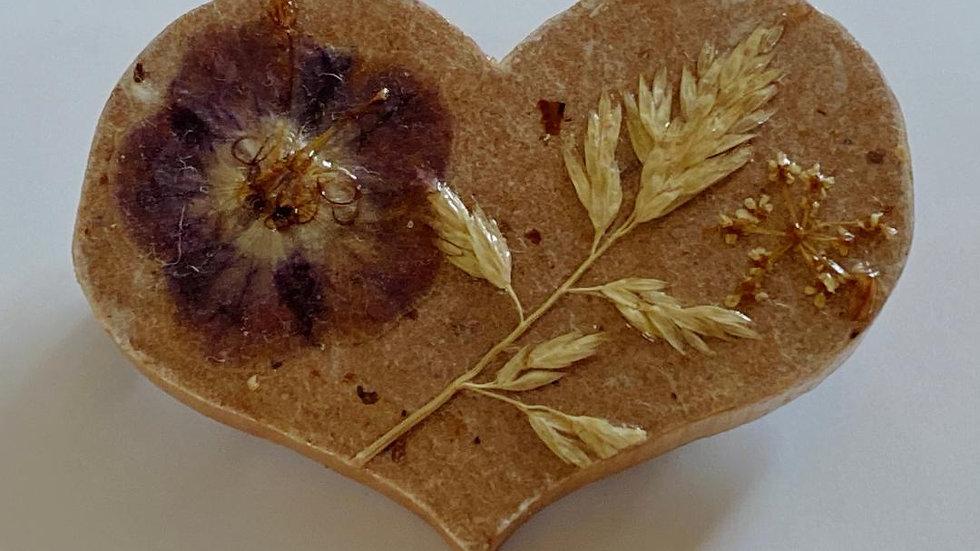 Flower and Grass Wooden Heart Brooch