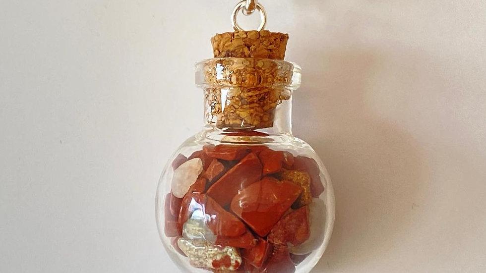 Little Bottle Full of Red Jasper Pendant