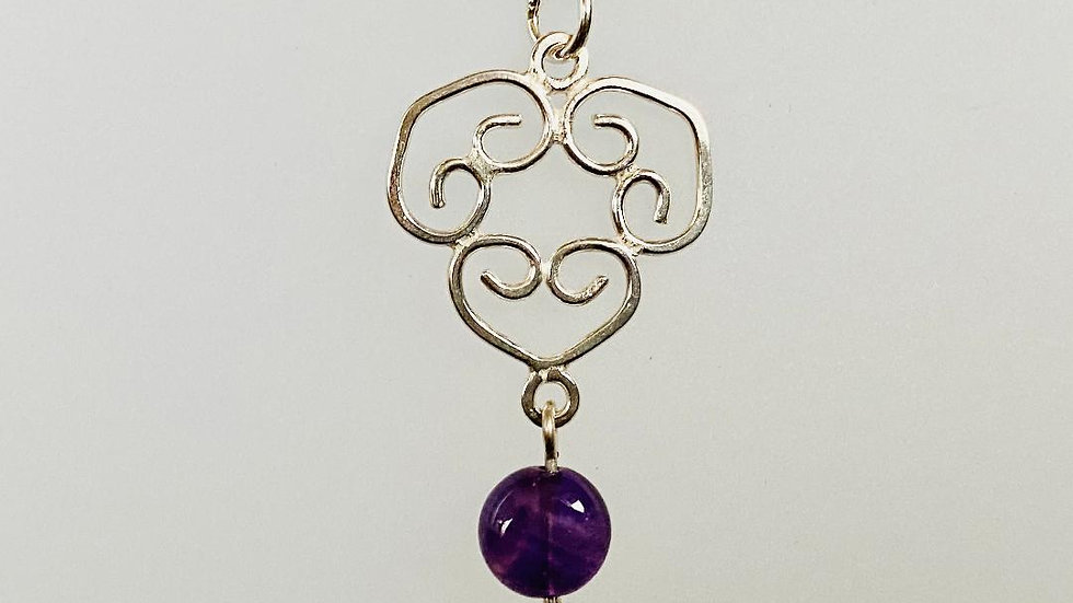 Three Heart Sterling Silver Pendant with Amethyst