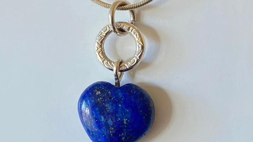 Lapis Lazuli Heart Pendant with Silver Circle