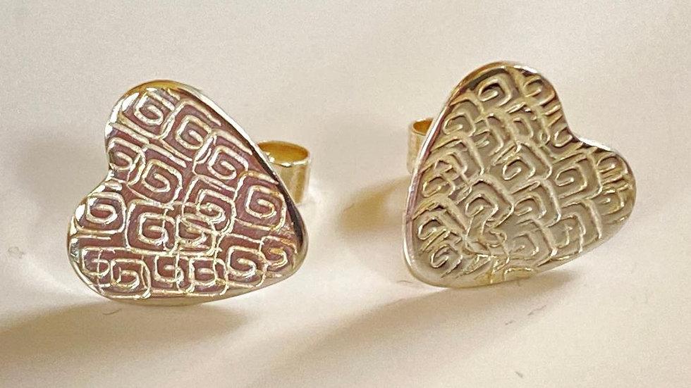 Textured Silver Heart Studs