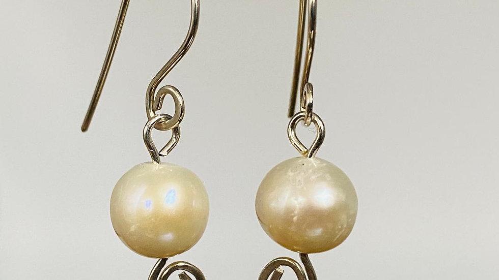Sterling Silver Swirl ivory Pearl Earrings