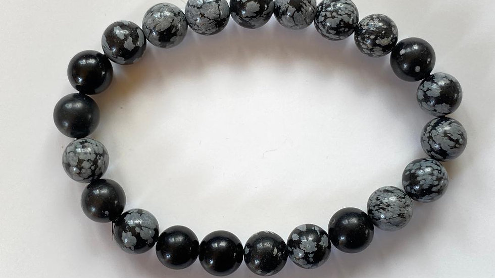Snowflake Obsidian Bead Bracelet