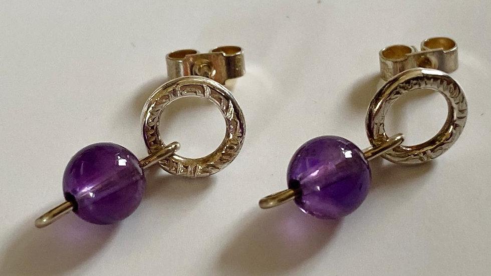Amethyst Lava Bead Silver Textured Ring Studs