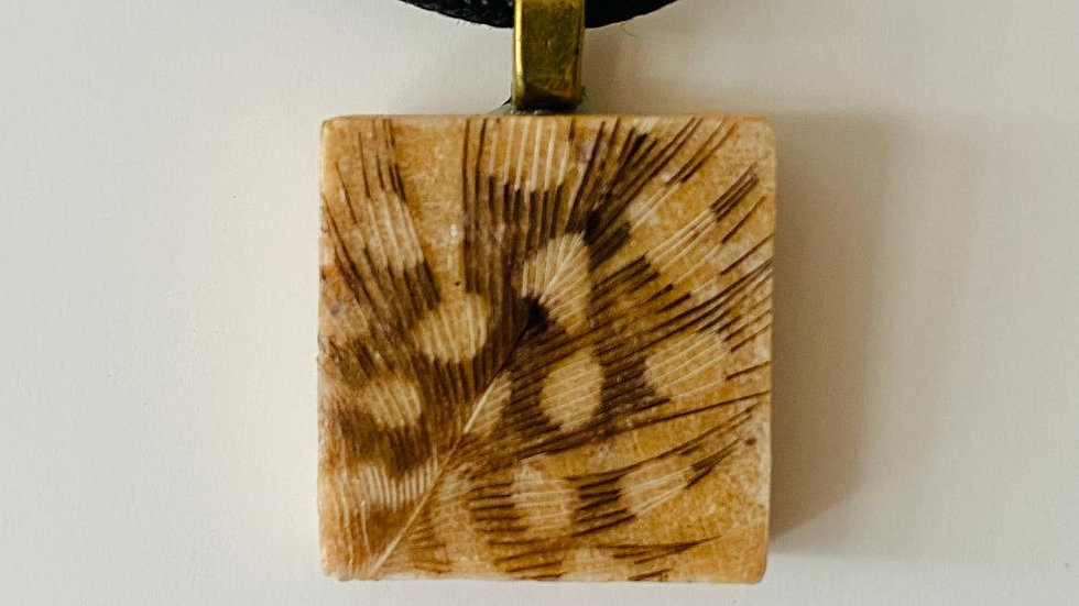 Feather Pendant on a Scrabble Tile