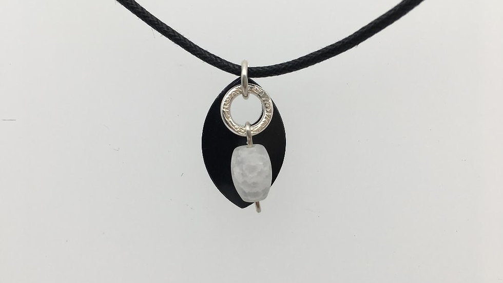 Black Shield with Silver Textured Ring with Frosted Quartz Necklace