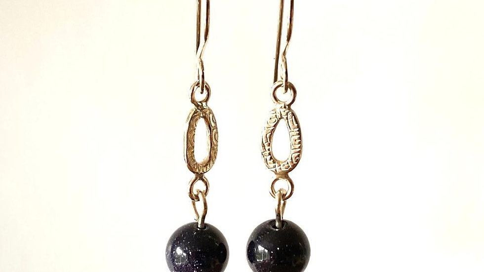 Blue Goldstone and Silver Drop Earrings