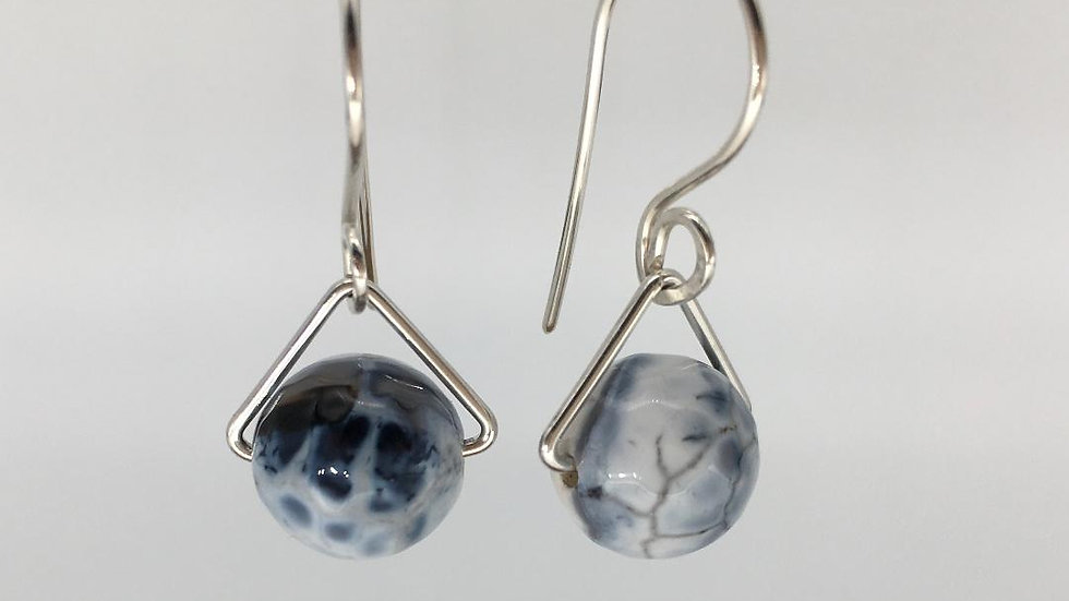 Faceted Agate Bead Silver Earrings