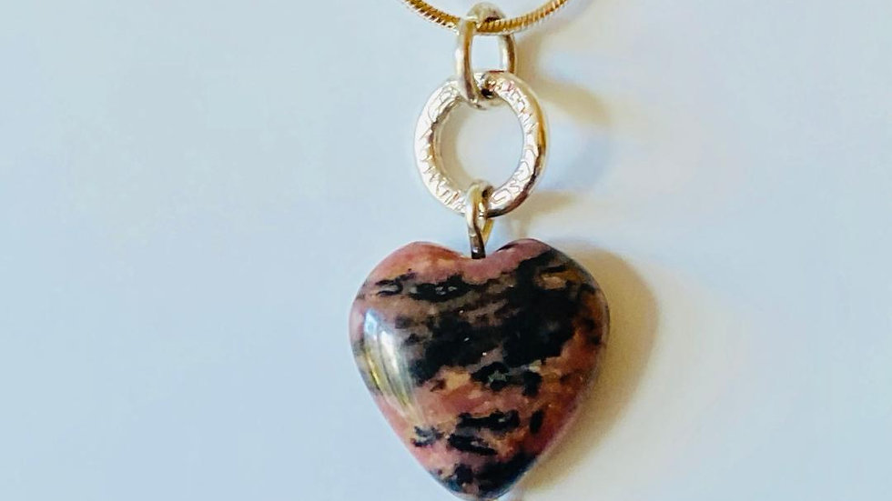 Rhodonite Hearts and Silver Circle Necklace