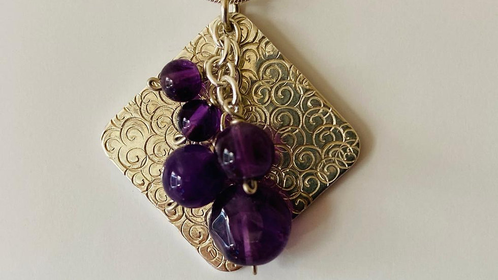 Square and Amethyst Bead Necklace