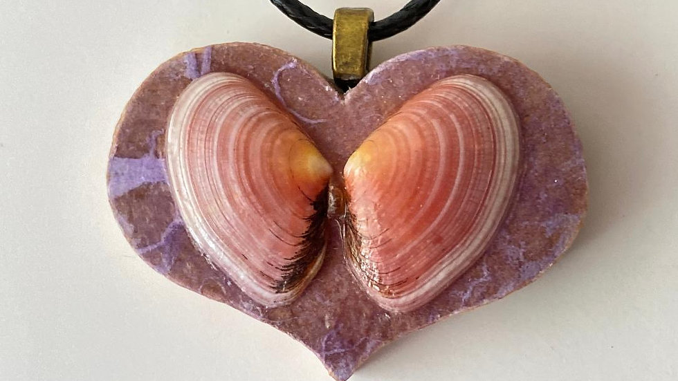 Wooden Heart Tile and Shell Pendant