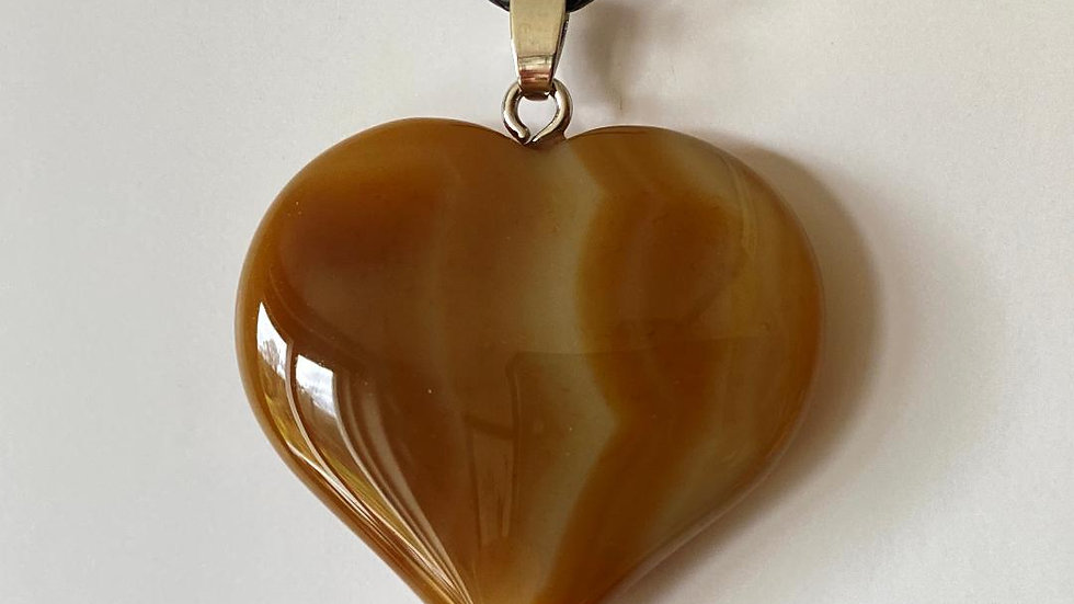 Large Agate Heart Pendant